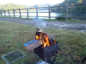 焚き火の朝