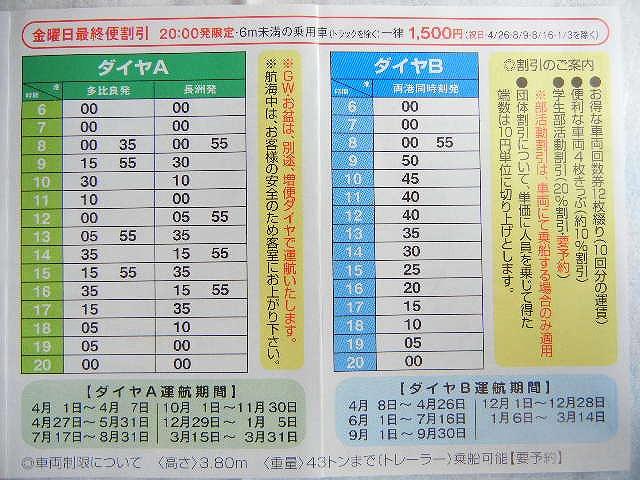 熊本フェリー時刻表